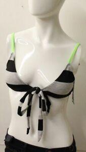 Hurley Women's Striped Gray and Black Bikini Top NWT