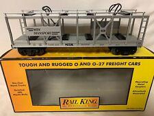 ✅MTH RAILKING AUTO CARRIER FLAT CAR, HOLDS FOUR 1/43 1/48 CARS! O GAUGE TRAIN