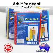 1x Reusable Adult Rain Coat Poncho Emergency Hood Camping Size Raincoat