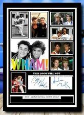 More details for 556 wham george michael & andrew ridgeley signed  photograph framed unframed +++