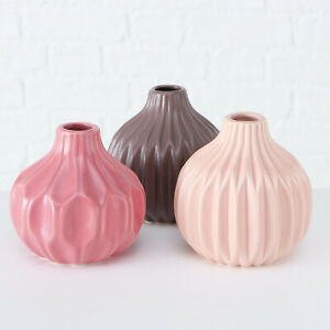 3x Modern Contemporary Ceramic Geometric Wide Pink Bottle Flower Bud Vases Set