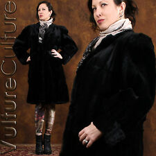 RARE Vintage 40s 50s Goth Fur Coat Blk Seal-Dyed Coney Strong Shoulder Long L