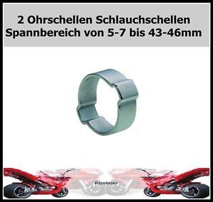 2 zwei ohr schlauchschellen ohr klemmen ohr Schellen  von 5-7 bis 43-46 mm