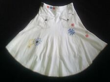 Freesoul Quirky White cord Embroidered Long Flare Gypsy skirt Hippy Arty Boho