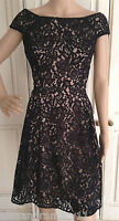 Gorgeous NEW Ex F&F Black and Beige Lace Overlay Dress 6 8 10 12 14 16