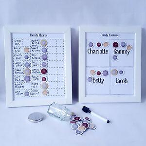 Family chore charts, children's reward chart x 2 magnet charts, kids jobs tasks