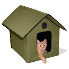 K&H Outdoor Olive Kitty House KH3993 with KH1070 Soft Electric Heated Cat Bed