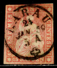 SWITZERLAND: 1858 19TH CENTURY CLASSIC ERA STAMP SCT #38 CDS CANCEL CV$65 SOUND
