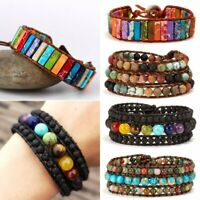 Natural Stone Lava Healing Chakra Retro Beaded Bracelet Bangle Women Jewelry