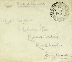 GIBRALTAR 1916 ON ACTIVE SERVICE PAID COVER TO MANCHESTER ENGLAND GB