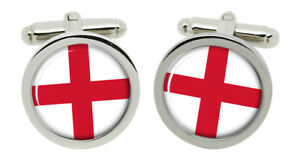 England Flag Round Cufflinks in Box