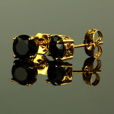 Ohrstecker Zirkonia schwarz Ø 7 mm 585 Gold 14 Karat vergoldet gelbgold O1992L