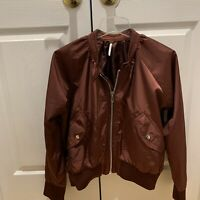 Free People Midnight Bomber Jacket Women Size Small Merlot Red