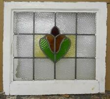 """MID SIZED OLD ENGLISH LEADED STAINED GLASS WINDOW Pretty Floral 22.25"""" x 20.25"""""""