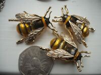 Vintage Style HONEY BEE Bumble Insect ENAMEL BROOCH Pin JUST ONE BROOCH SEE PICI