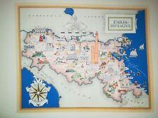 '50 vecchia cartina EMILIA ROMAGNA RAVENNA FAENZA FIDENZA BOLOGNA FORLI RIMINI