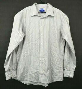 Egara Mens 2XLT Tall Slim Fit Non Iron Striped Long Sleeve Work Button Up Shirt