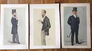 "Three ""Spy"" Chromolithograph Prints Vanity Fair Magazine, 1800s"