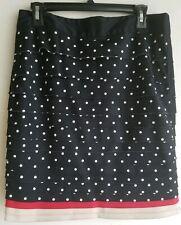 White House Black Market Tiered Layered Polka Dot Straight Pencil Skirt Sz 10