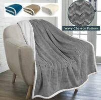 Soft Fuzzy Warm Cozy Throw Blanket with Sherpa Fleece Reversible Chevron Pattern