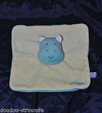 Peluche Doudou Hippopotame Plat SUCRE D'ORGE Bleu Jaune Vert Anis TTBE