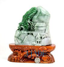 A Grade Green Jadeite Jade Mountain Statue Sculpture Shanzi w/ certificate