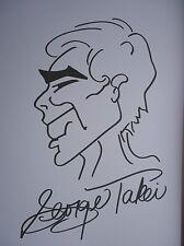 GEORGE TAKEI STAR TREK SULU RARE HAND DRAWN 11X8'' SIGNED SKETCH AUTOGRAPH w/COA