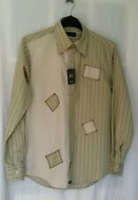 "Higgins Mens Shirt Large 16.5"" Button Cuff Olive Green Printed Patch work LS New"