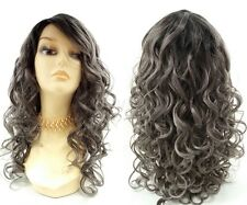 """Charcoal Gray with Dark Roots Long Curly Heat Resistant Synthetic Wig 18"""""""