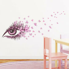 butterfly heart pink eye home decor wall stickers girl room decal mural flower