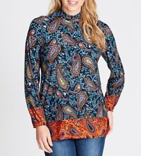 Crossroads Bohemian Paisley High Neck Tunic Top Blue / Multi Colour Size 22