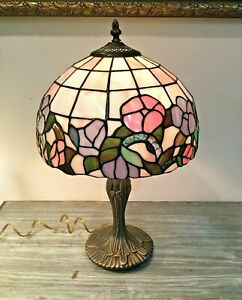 "Tiffany Style Stained Glass Floral Table Lamp 19"" Tall"