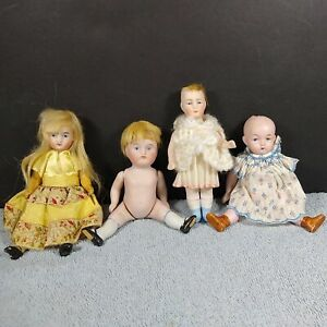 """ANTIQUE Jointed BISQUE DOLL LOT of 4 GERMANY 4.25 """" to 5"""" Repair Dollhouse"""