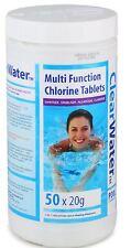 Bestway Clearwater 1kg Multifunction Swimming Pool Spa Chlorine Tablets 50 X 20g