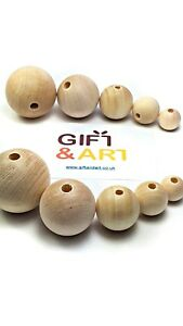 Plain Natural Unfinished Wooden Craft  Balls Beads 10,12,16,20,25,30,35,40,50 mm