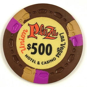 Union Plaza 1st Edition $500 Brown Scrown 3FCH3Tan OR-Gold Poker Chip >UP1ST23