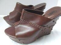 Carlos Santana brn 5in wedge platform sandal clog mule shoe 8 Milos stud MINT