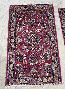 Lot of (2) Antique Vintage 1950's Karastan Sarouk  Area Rug Carpet 3 X 5 , 2 X 4