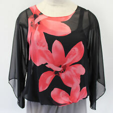 NEW Macy's Alfani Plus Floral Printed Black Blouse Sheer Poet Sleeve Tank 2X