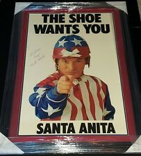WILLIE BILL SHOEMAKER SIGNED THE SHOE WANTS YOU SANTA ANITA POSTER FRAMED PSA