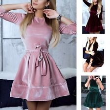 Vestito Mini Donna Velluto Feste Woman Party Mini Velvet Dress 110338 P
