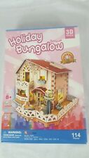 3D Puzzle Doll House With Furniture LED Lights 114 Pieces Holiday Bungalow Gift