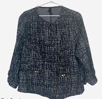 Crossroads Womens Black/White Striped Long Sleeve Zipper Front Jacket Size XL