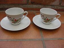 2 tasses et soucoupes Wunsiedel Bavaria motif oeillets orange porcelaine