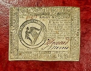 1776 $8 CONTINENTAL CURRENCY NOTE ~ MAY 9 1776 ISSUE~ LOVELY ABOUT UNCIRCULATED