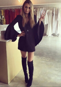 Mossman Dress Size 10 Black Mini Long Sleeves