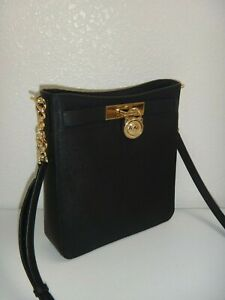 MICHAEL KORS MK Hamilton MD Messenger Bag Black Saffiano 38H8XHMM2L Gold Padlock