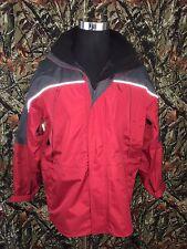 Men' Marlboro Waterproof Heavy Jacket Red/Gray M Zip Up Reflective Hiking Coat