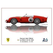 Print on paper Ferrari 250 TRI/61 #10 Gendebien / Hill Winners 24h LM 1961
