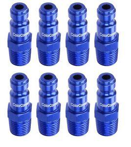 """Legacy A72440C-8PK Blue 8-Pack ColorConnex Plug, Type C; 1/4"""" MNPT; 1/4"""" Body"""
